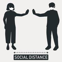 nueva tendencia mundial distancia social, consecuencias de la pandemia - vector