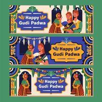 Happy Gudi Padwa Banner Collection vector