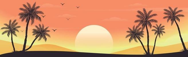 puesta de sol en la playa con palmeras vector