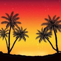 Night panorama on the background of the beach with palm trees vector