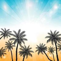 Sunset on the beach with palm trees vector
