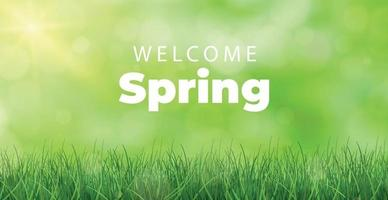 Welcome spring bright sunny background poster - Vector
