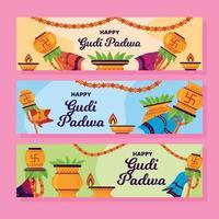 Gudi Padwa Flat Design Banner Set vector