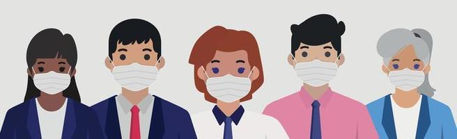 Group of people in sterile medical masks - Vector