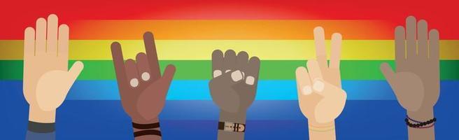 Gestos con las manos de personas de diferentes razas y diferentes orientaciones sexuales. vector