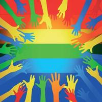 muchas manos multicolores en una bandera del arco iris vector