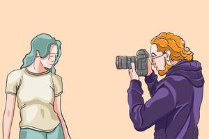 modelo de tiro de fotógrafo, modelo posando para sesión de fotos, fotografía de revista en estudio, filmación de películas con escenas de cámara, contenido para colaborador, ilustración vectorial plana. vector