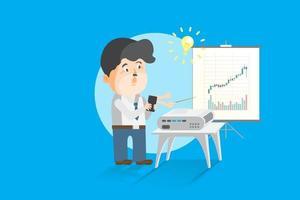 aprendiz inversor aficionado que aprende lecciones en línea de forma analítica financiera en teléfonos inteligentes, estudiando en transmisión en línea de clase de entrenamiento, como ilustración de vector plano de dibujos animados de entrenamiento cara a cara