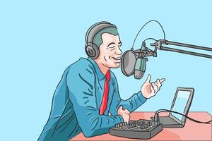 Influencer boardcasting in studio, DJ live in studio, Speaker speech make audience motivation, podcaster livestreaming for follower, content for contributor, flat vector illustration