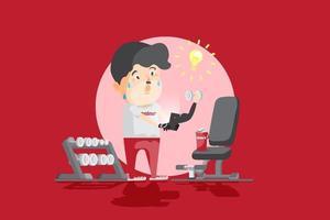 aprendiz de fitness aficionado aprendizaje forma lección en línea en teléfono inteligente, estudiando en la clase de entrenamiento en línea, como ilustración de vector plano de dibujos animados de entrenamiento cara a cara