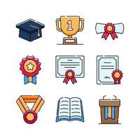 colección de iconos de graduación vector