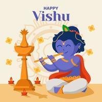 feliz celebración del festival vishu vector