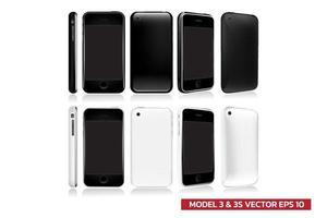 conjunto de segunda generación de modelo de teléfono inteligente en diferentes vistas frontal, lateral, posterior, 2 colores en blanco y negro, simulacro de ilustración vectorial realista sobre fondo blanco. vector