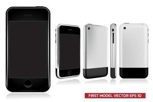 primera generación de modelo de teléfono inteligente en diferentes vistas frontal, lateral, posterior, simulacro de ilustración vectorial realista sobre fondo blanco. vector