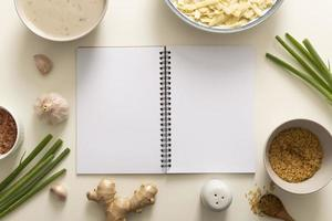 Top view of delicious food concept with copy space photo