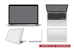 laptop mockup with different view front, side top, 3d, realistic vector illustration for mockup graphic, architectural drawing on white background.