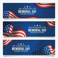 conjunto de banners del día conmemorativo vector