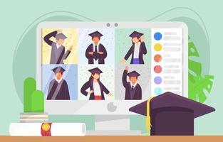 Online Graduation Concept Design vector