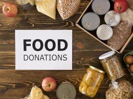 Top view food donation box