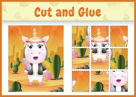 Children board game cut and glue themed easter with a cute unicorn using arabic traditional costume vector