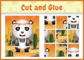 Children board game cut and glue themed easter with a cute panda using arabic traditional costume vector