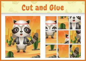 Children board game cut and glue themed easter with a cute raccoon using arabic traditional costume vector