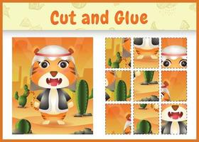 Children board game cut and glue themed easter with a cute tiger using arabic traditional costume vector