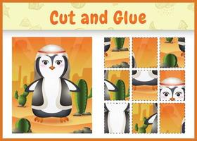 Children board game cut and glue themed easter with a cute penguin using arabic traditional costume vector