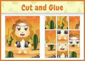 Children board game cut and glue themed easter with a cute lion using arabic traditional costume vector