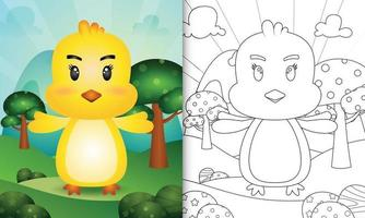 coloring book for kids with a cute chick character illustration vector
