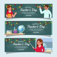 Happy Teacher's Day Banner Collection vector
