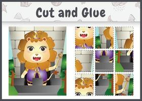 Children board game cut and glue with a cute king lion character illustration vector