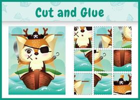 juego de mesa para niños cortar y pegar pascua temática con una linda ilustración de personaje de ciervo pirata en el barco vector