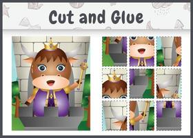 Children board game cut and glue with a cute king buffalo character illustration vector