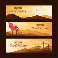 Set of Good Friday Banner vector
