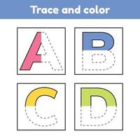 Trace letters for kindergarten and preshool kids. Write and color. vector