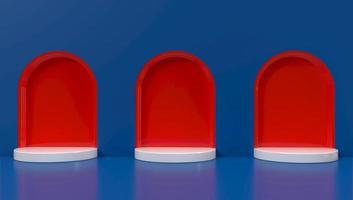 Representación 3D de arcos rojos sobre fondo azul.