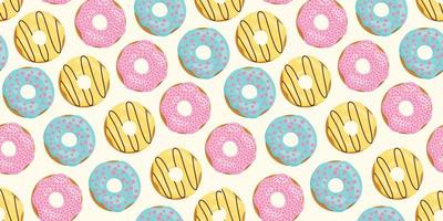 Seamless pattern with color donuts. Pink, yellow, blue glaze. vector