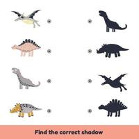 Matching game for kids preschool and kindergarten age. Find the correct shadow. Cute dinosaurs. vector