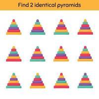 Encuentra dos pirámides idénticas. hoja de trabajo para niños en edad preescolar, preescolar y escolar. vector