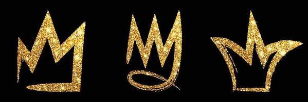 Set gold glitter hand drawn crown. Sign king, queen, princess. vector