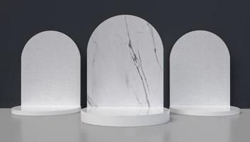 Representación 3D de tres arcos de mármol.