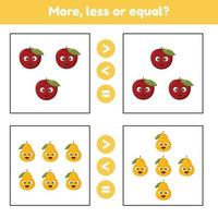 más, menos o igual. Juego educativo de matemáticas para niños en edad preescolar y escolar. frutas. manzana y peras. vector