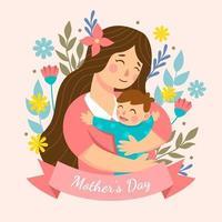 día de la madre en estilo de diseño plano. vector