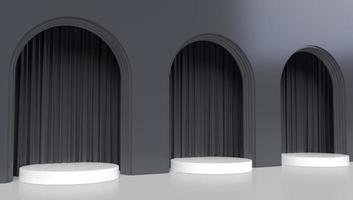 Representación 3D de tres arcos negros