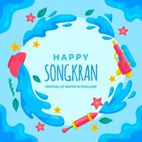 Songkran Background in Flat Design Style vector