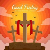Good Friday Design in Flat Design vector
