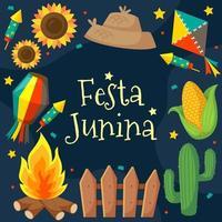 Festa Junina Background in Flat Style vector