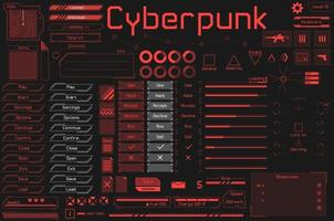 Set of UI and HUD game ready elements in digital and cyberpunk style. vector