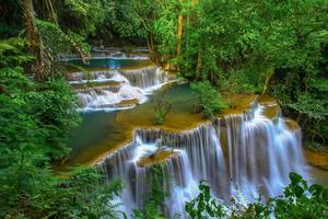 Beautiful waterfall in the middle of a rainforest photo